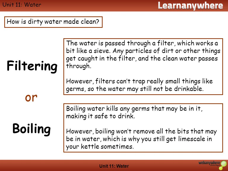 Geography Unit 11: Water How is dirty water made clean.