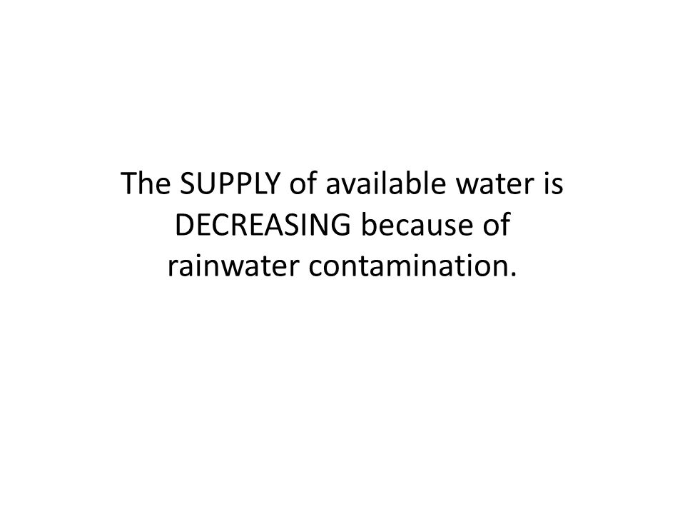The SUPPLY of available water is DECREASING because of rainwater contamination.