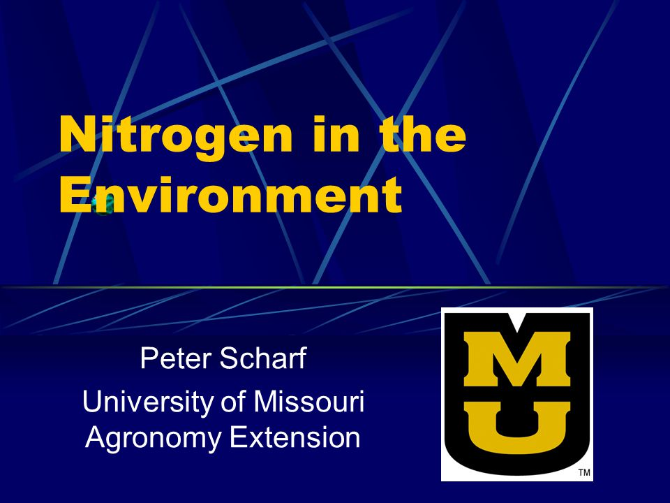 Nitrogen in the Environment Peter Scharf University of Missouri Agronomy Extension