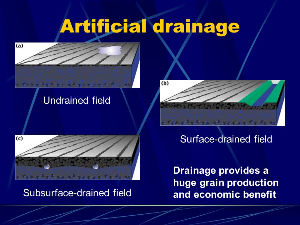Artificial drainage Undrained field Surface-drained field Subsurface-drained field Drainage provides a huge grain production and economic benefit