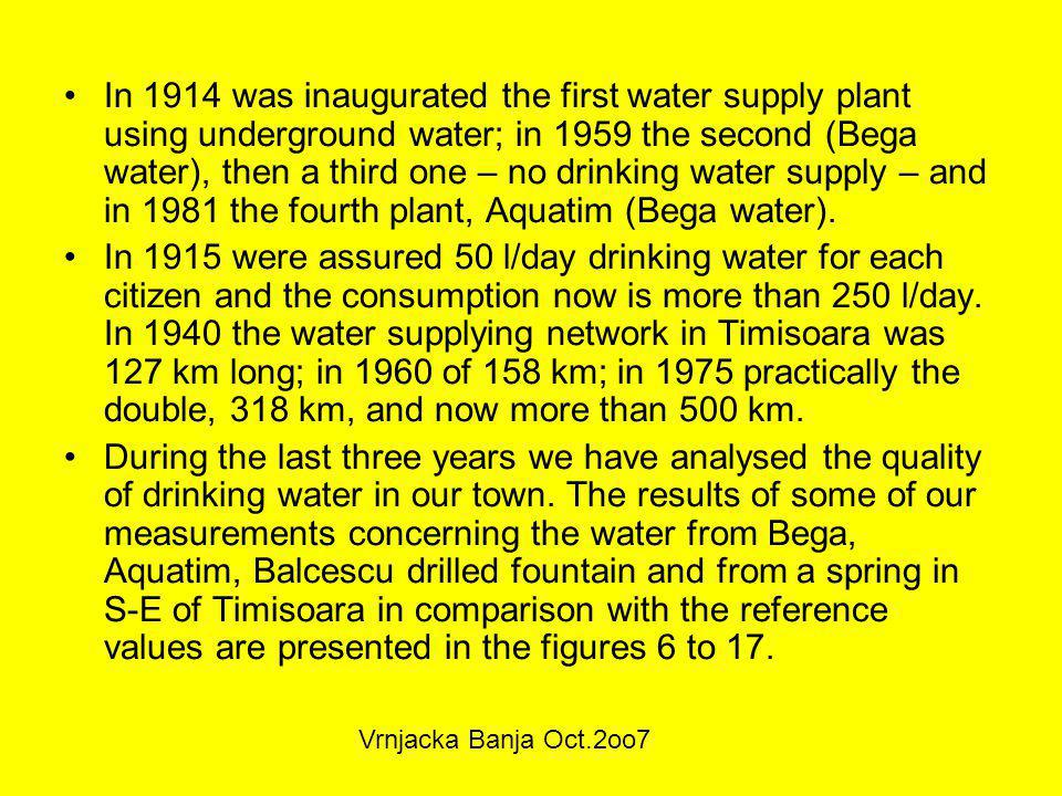 In 1914 was inaugurated the first water supply plant using underground water; in 1959 the second (Bega water), then a third one – no drinking water supply – and in 1981 the fourth plant, Aquatim (Bega water).