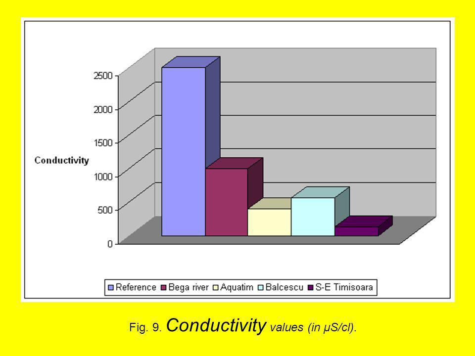 Fig. 9. Conductivity values (in μS/cl).