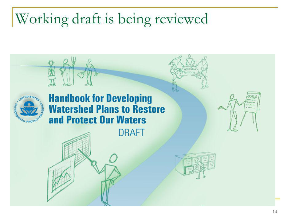 14 Working draft is being reviewed