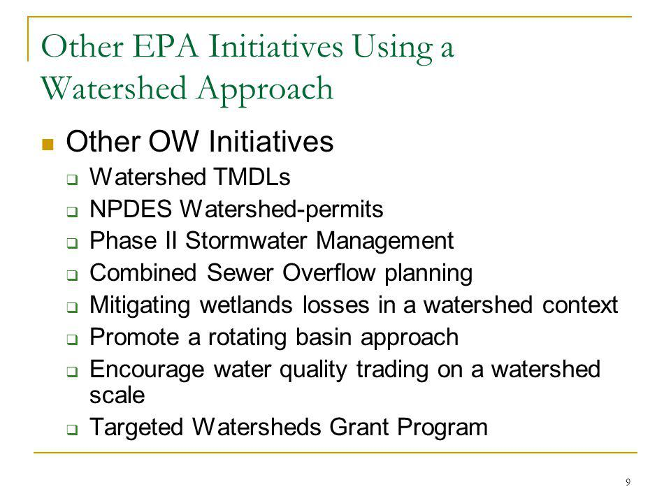 9 Other EPA Initiatives Using a Watershed Approach Other OW Initiatives Watershed TMDLs NPDES Watershed-permits Phase II Stormwater Management Combined Sewer Overflow planning Mitigating wetlands losses in a watershed context Promote a rotating basin approach Encourage water quality trading on a watershed scale Targeted Watersheds Grant Program