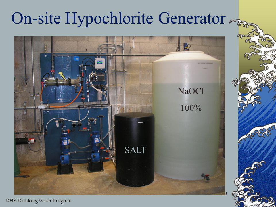 DHS Drinking Water Program 33 On-site Hypochlorite Generator SALT NaOCl 100%