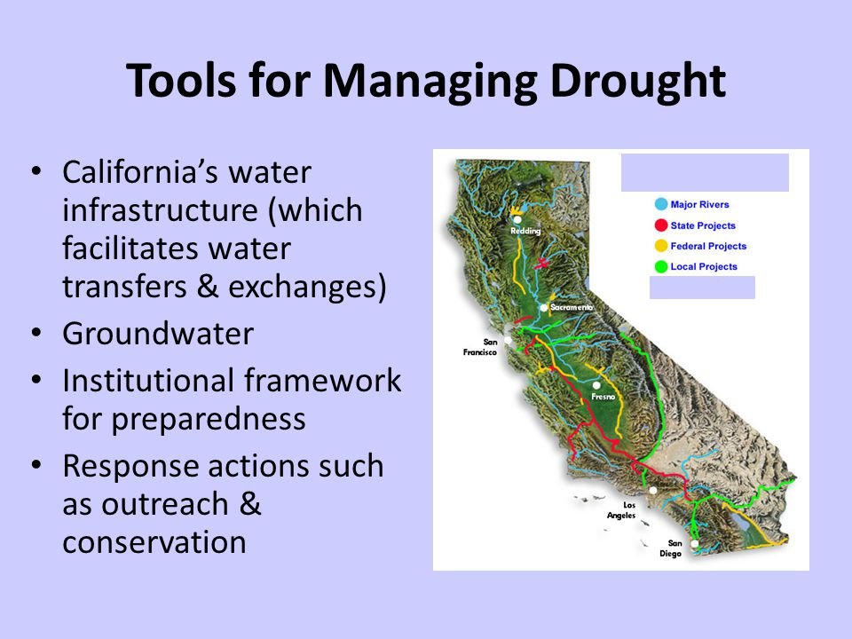 Tools for Managing Drought Californias water infrastructure (which facilitates water transfers & exchanges) Groundwater Institutional framework for preparedness Response actions such as outreach & conservation