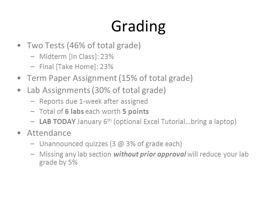 Grading Two Tests (46% of total grade) –Midterm [In Class]: 23% –Final [Take Home]: 23% Term Paper Assignment (15% of total grade) Lab Assignments (30% of total grade) –Reports due 1-week after assigned –Total of 6 labs each worth 5 points –LAB TODAY January 6 th (optional Excel Tutorial…bring a laptop) Attendance –Unannounced quizzes (3 @ 3% of grade each) –Missing any lab section without prior approval will reduce your lab grade by 5%