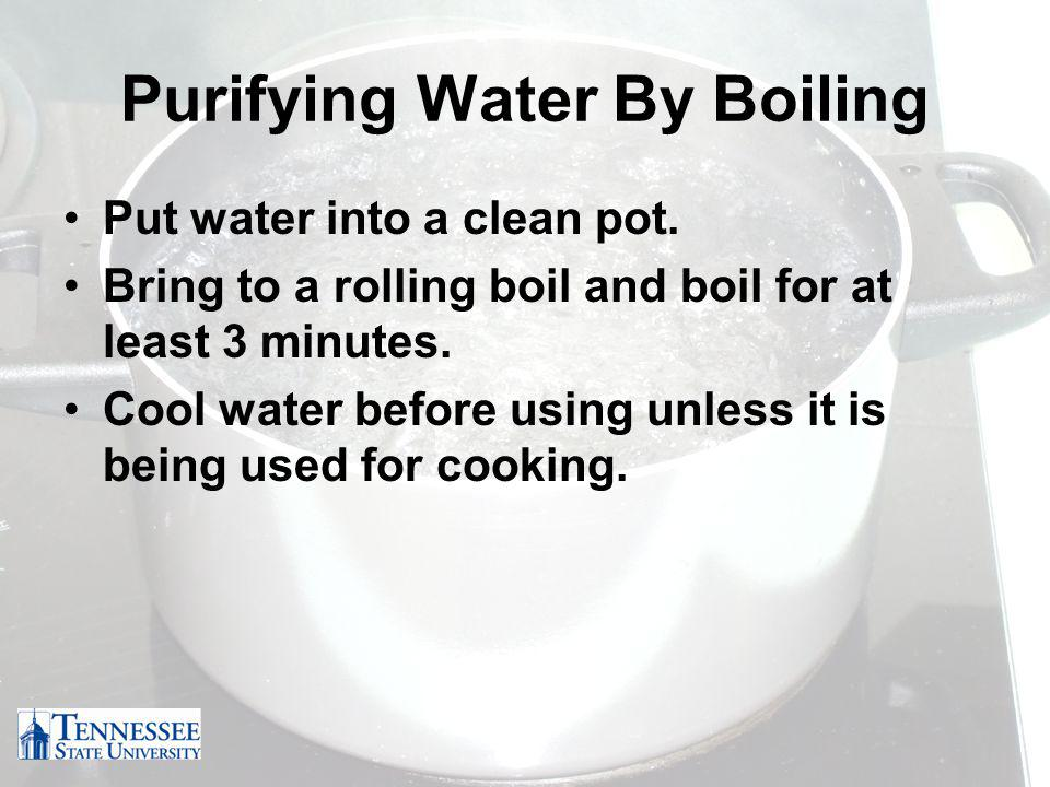 Purifying Water By Boiling Put water into a clean pot.