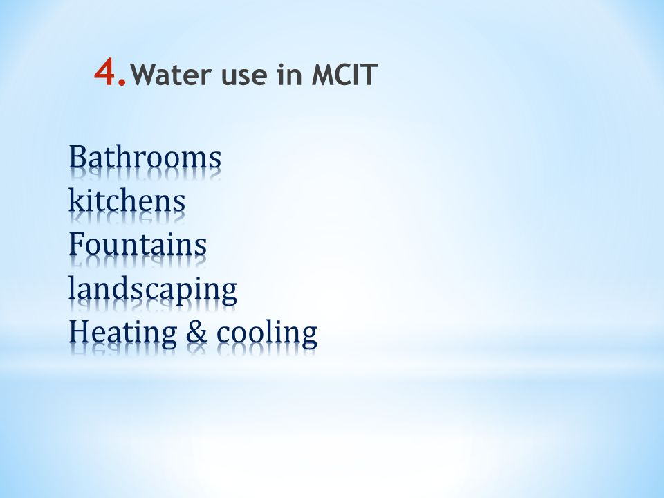 4. Water use in MCIT