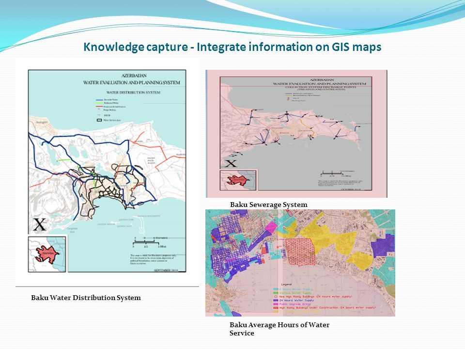 Knowledge capture - Integrate information on GIS maps Baku Water Distribution System Baku Sewerage System Baku Average Hours of Water Service