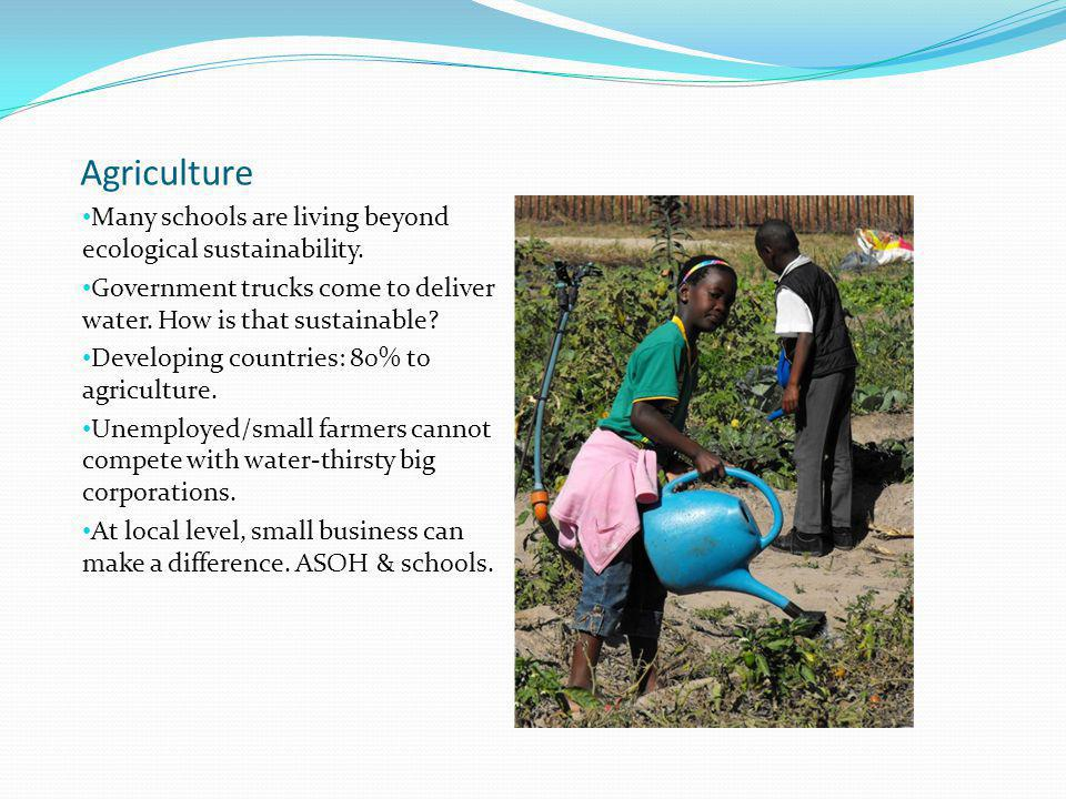 Agriculture Many schools are living beyond ecological sustainability.