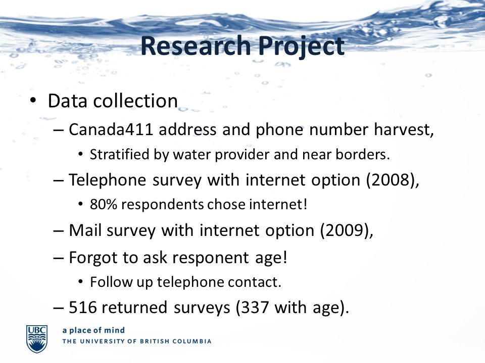 Research Project Data collection – Canada411 address and phone number harvest, Stratified by water provider and near borders.