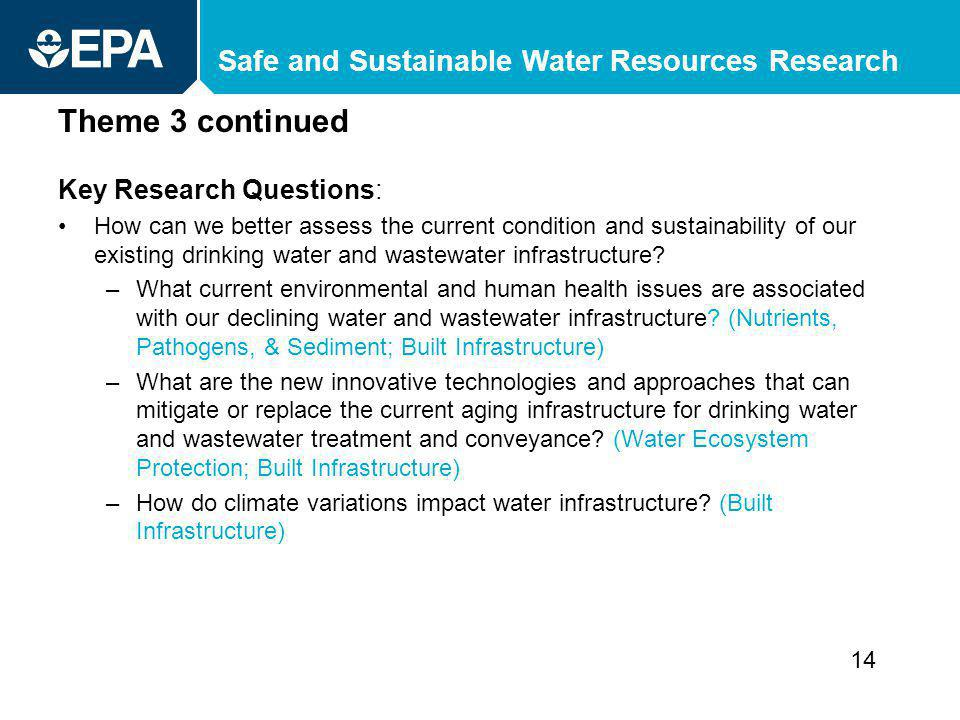 Safe and Sustainable Water Resources Research Theme 3 continued Key Research Questions: How can we better assess the current condition and sustainability of our existing drinking water and wastewater infrastructure.