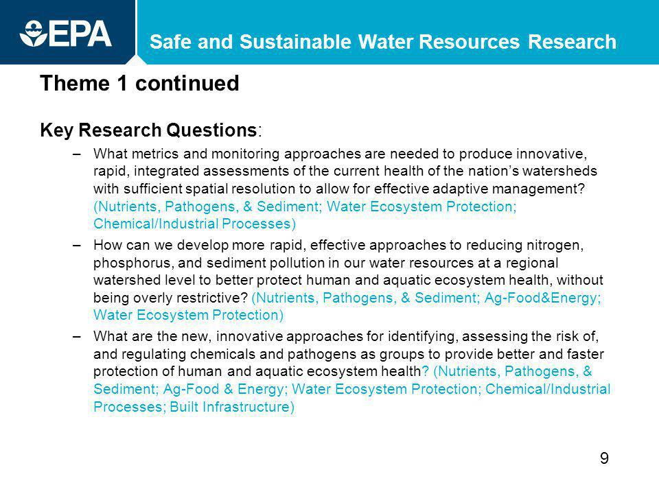 Safe and Sustainable Water Resources Research Theme 1 continued Key Research Questions: –What metrics and monitoring approaches are needed to produce innovative, rapid, integrated assessments of the current health of the nations watersheds with sufficient spatial resolution to allow for effective adaptive management.