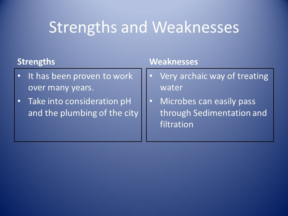 Strengths and Weaknesses Strengths It has been proven to work over many years.