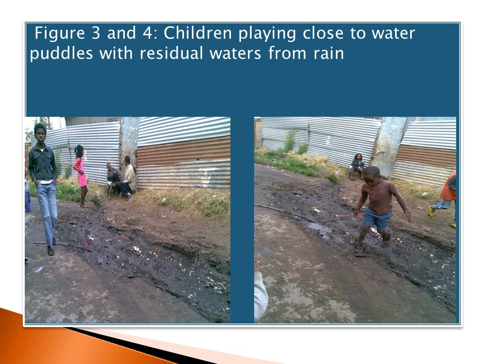 Figure 3 and 4: Children playing close to water puddles with residual waters from rain