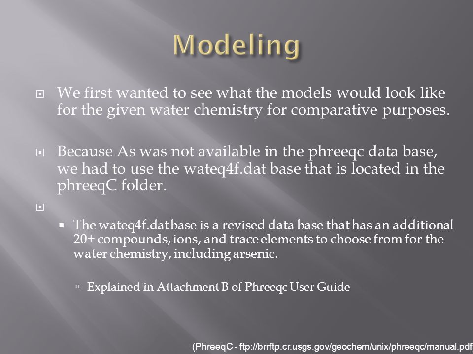 We first wanted to see what the models would look like for the given water chemistry for comparative purposes.