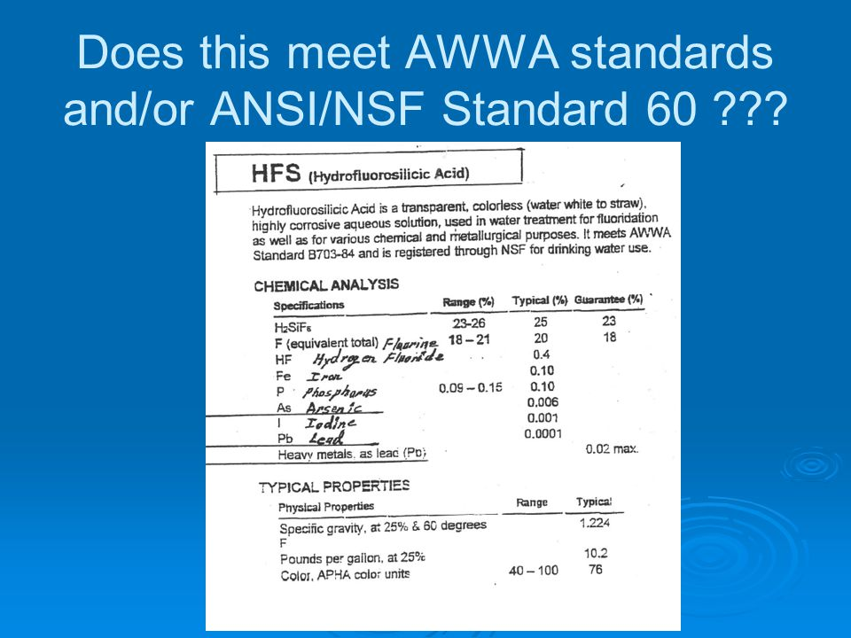 Does this meet AWWA standards and/or ANSI/NSF Standard 60