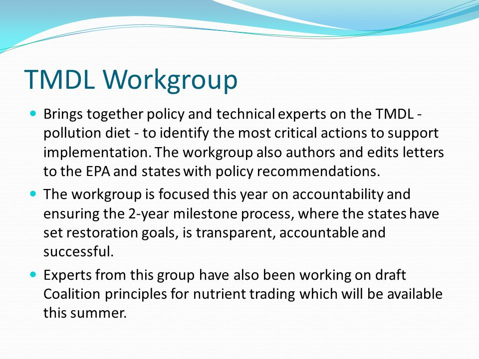 TMDL Workgroup Brings together policy and technical experts on the TMDL - pollution diet - to identify the most critical actions to support implementation.