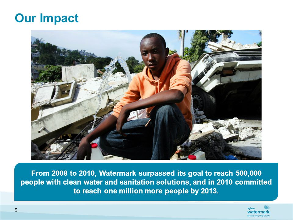 Our Impact From 2008 to 2010, Watermark surpassed its goal to reach 500,000 people with clean water and sanitation solutions, and in 2010 committed to reach one million more people by 2013.