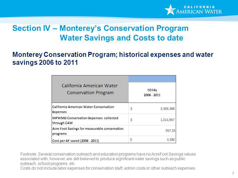 7 Section IV – Montereys Conservation Program Water Savings and Costs to date Monterey Conservation Program; historical expenses and water savings 2006 to 2011 Footnote: Several conservation outreach and education programs have no AcreFoot Savings values associated with, however, are still believed to produce significant water savings such as public outreach, school programs, etc.