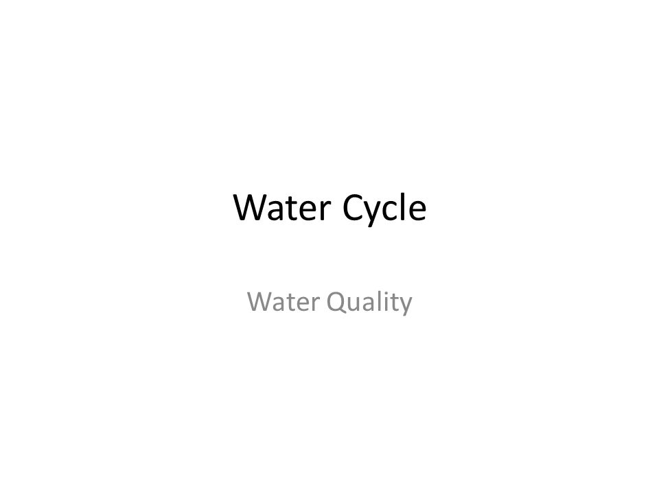 Water Cycle Water Quality