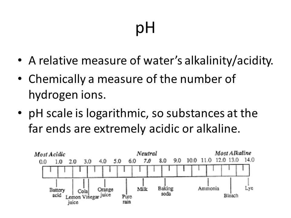 pH A relative measure of waters alkalinity/acidity.