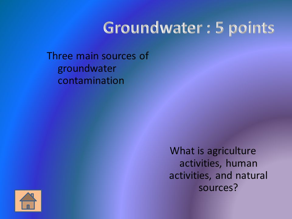 Three main sources of groundwater contamination What is agriculture activities, human activities, and natural sources