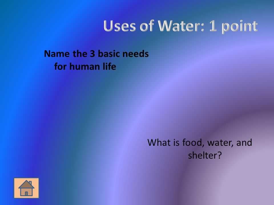 Name the 3 basic needs for human life What is food, water, and shelter