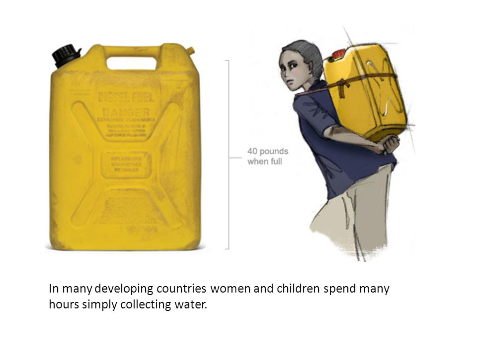 In many developing countries women and children spend many hours simply collecting water.