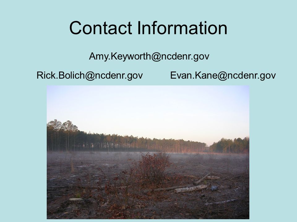 Contact Information Amy.Keyworth@ncdenr.gov Rick.Bolich@ncdenr.govEvan.Kane@ncdenr.gov