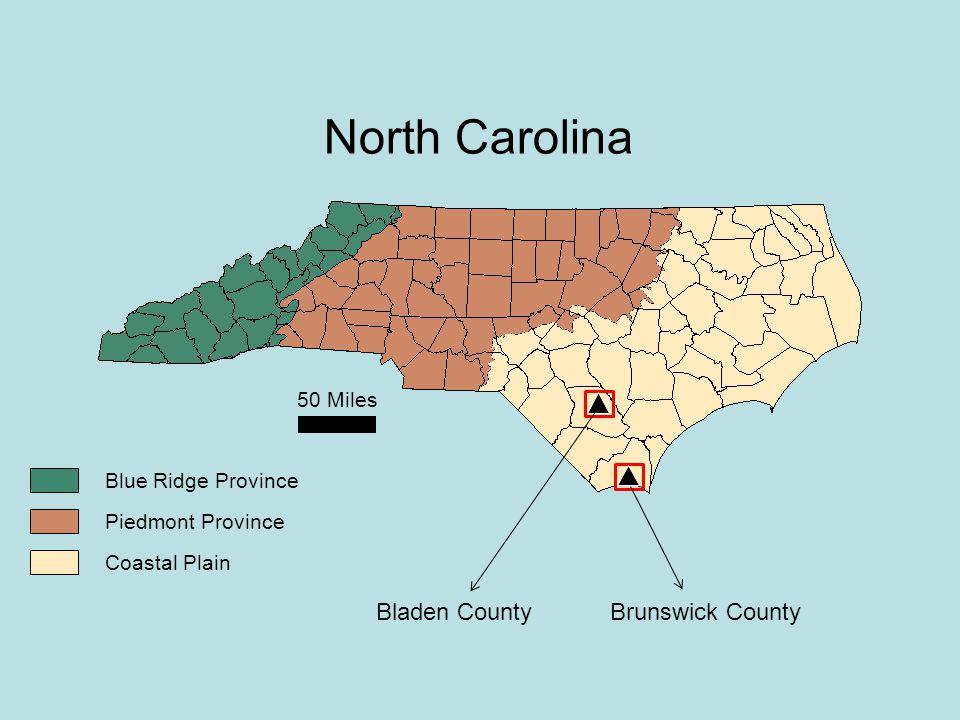 50 Miles Blue Ridge Province Piedmont Province Coastal Plain North Carolina Bladen CountyBrunswick County