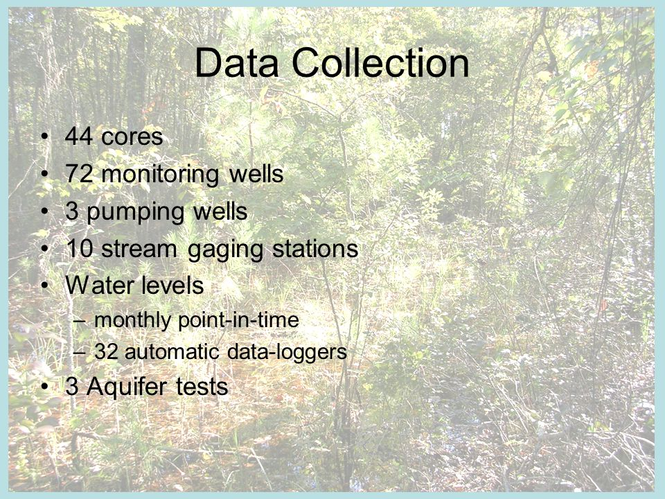 Data Collection 44 cores 72 monitoring wells 3 pumping wells 10 stream gaging stations Water levels –monthly point-in-time –32 automatic data-loggers 3 Aquifer tests