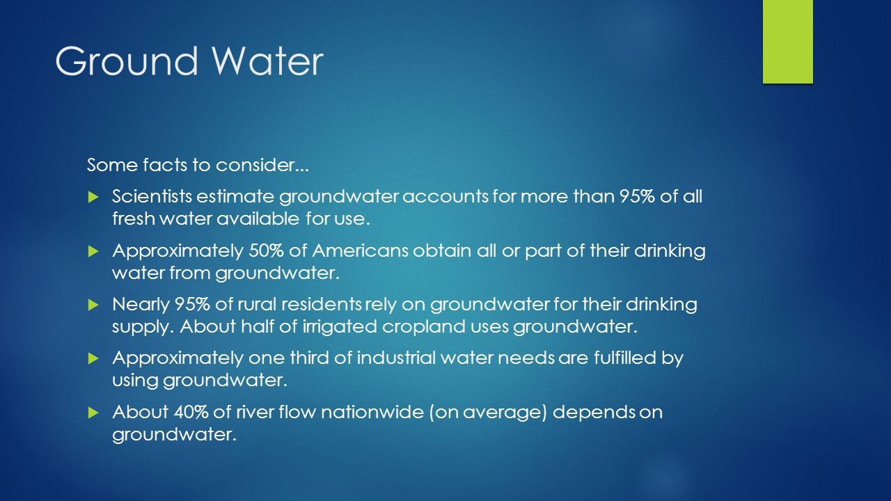 Ground Water Some facts to consider...