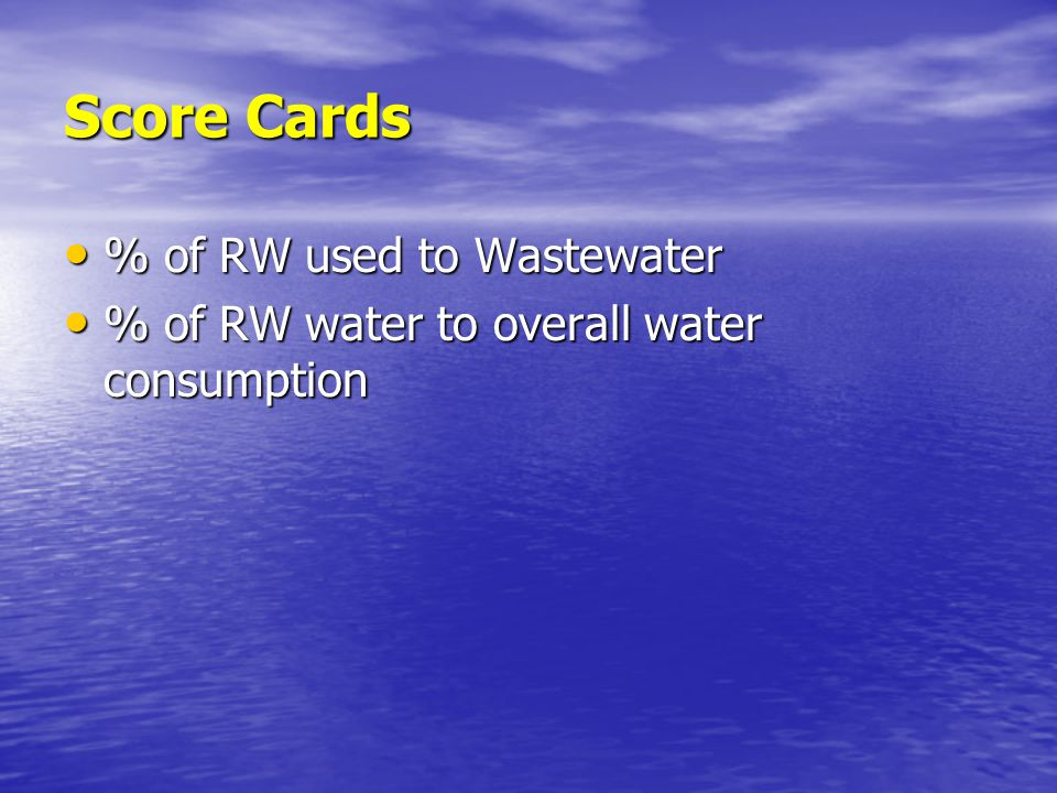 Score Cards % of RW used to Wastewater % of RW used to Wastewater % of RW water to overall water consumption % of RW water to overall water consumption