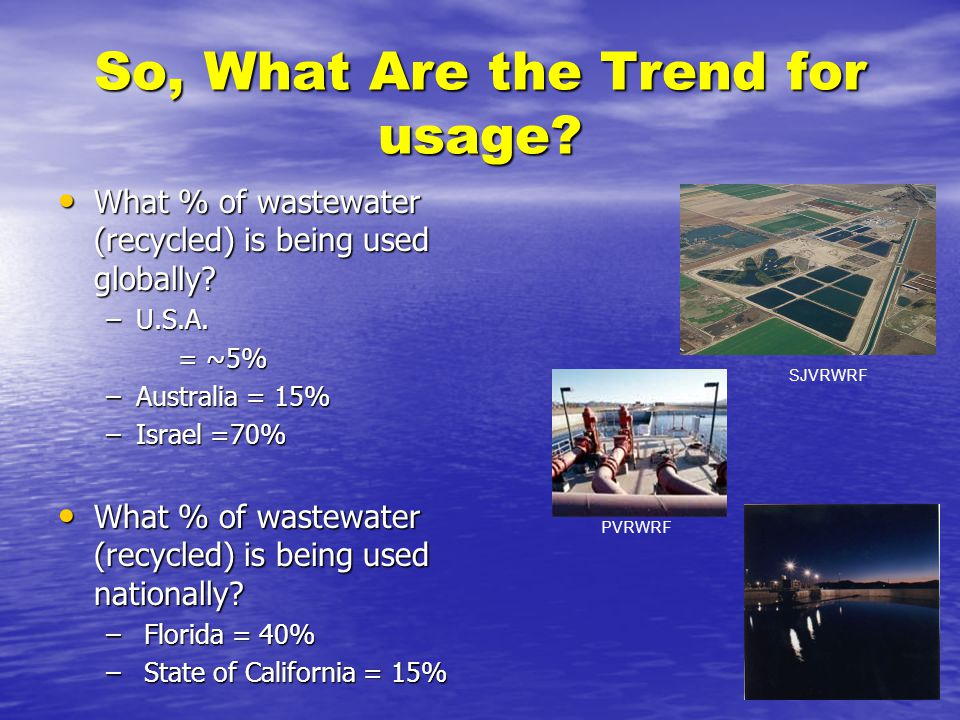So, What Are the Trend for usage. What % of wastewater (recycled) is being used globally.