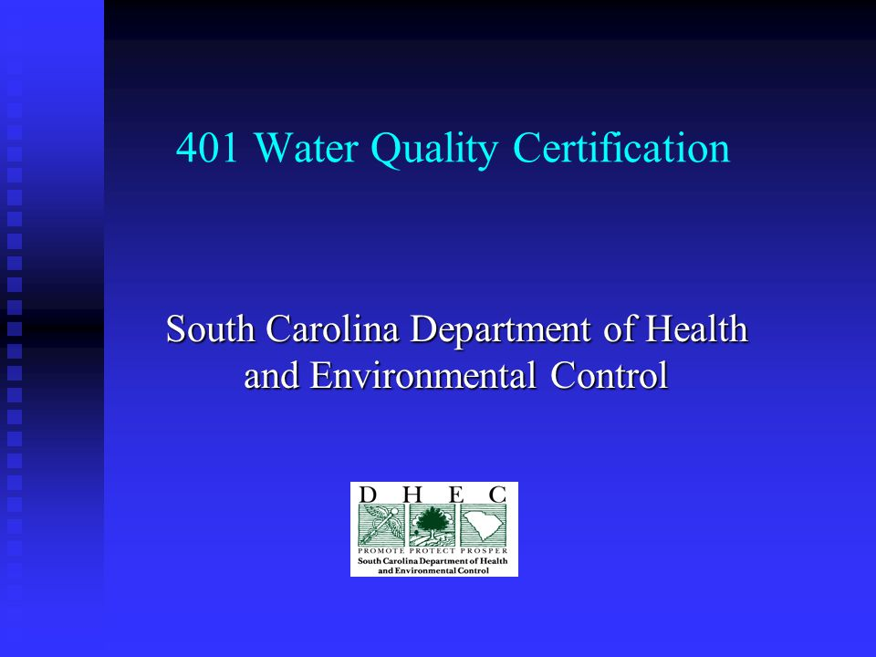 401 Water Quality Certification South Carolina Department Of Health