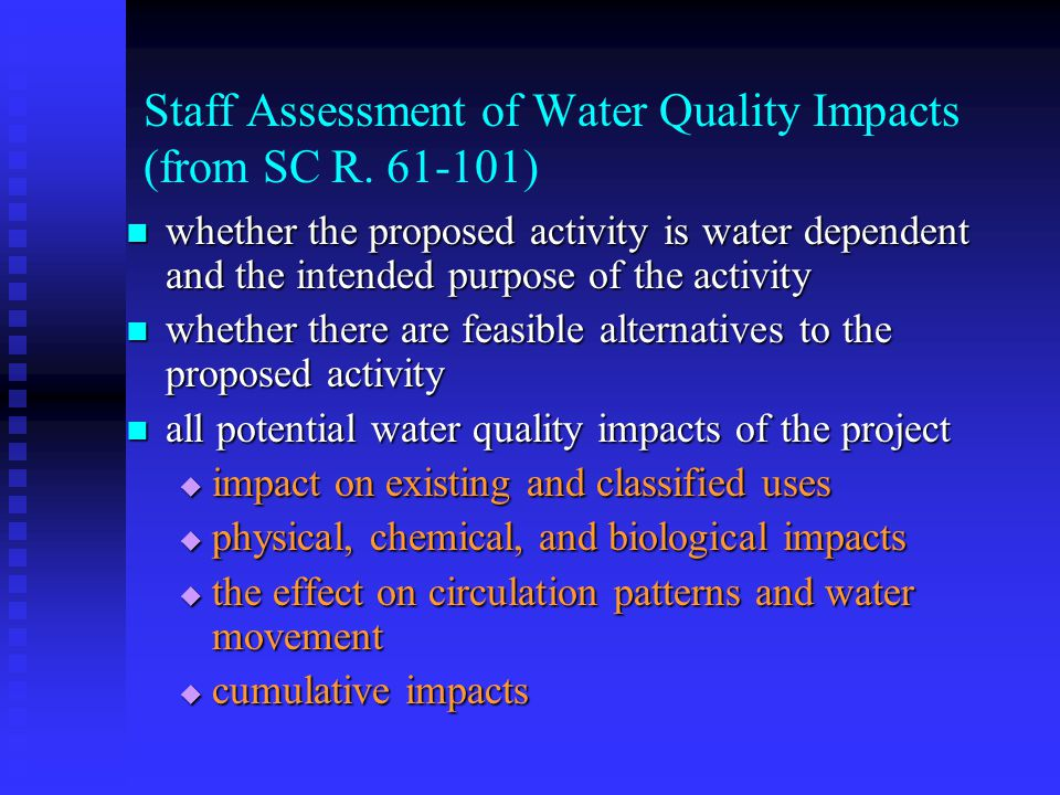 Staff Assessment of Water Quality Impacts (from SC R.