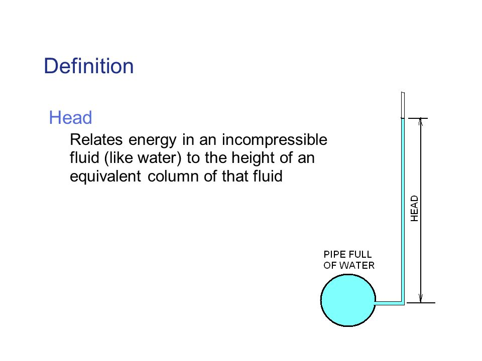 Definition Head Relates energy in an incompressible fluid (like water) to the height of an equivalent column of that fluid