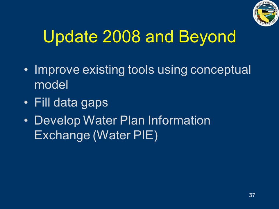 37 Update 2008 and Beyond Improve existing tools using conceptual model Fill data gaps Develop Water Plan Information Exchange (Water PIE)