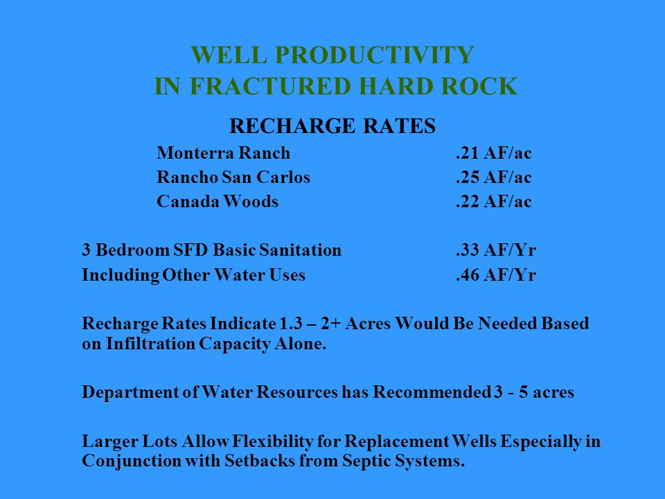 WELL PRODUCTIVITY IN FRACTURED HARD ROCK RECHARGE RATES Monterra Ranch.21 AF/ac Rancho San Carlos.25 AF/ac Canada Woods.22 AF/ac 3 Bedroom SFD Basic Sanitation.33 AF/Yr Including Other Water Uses.46 AF/Yr Recharge Rates Indicate 1.3 – 2+ Acres Would Be Needed Based on Infiltration Capacity Alone.