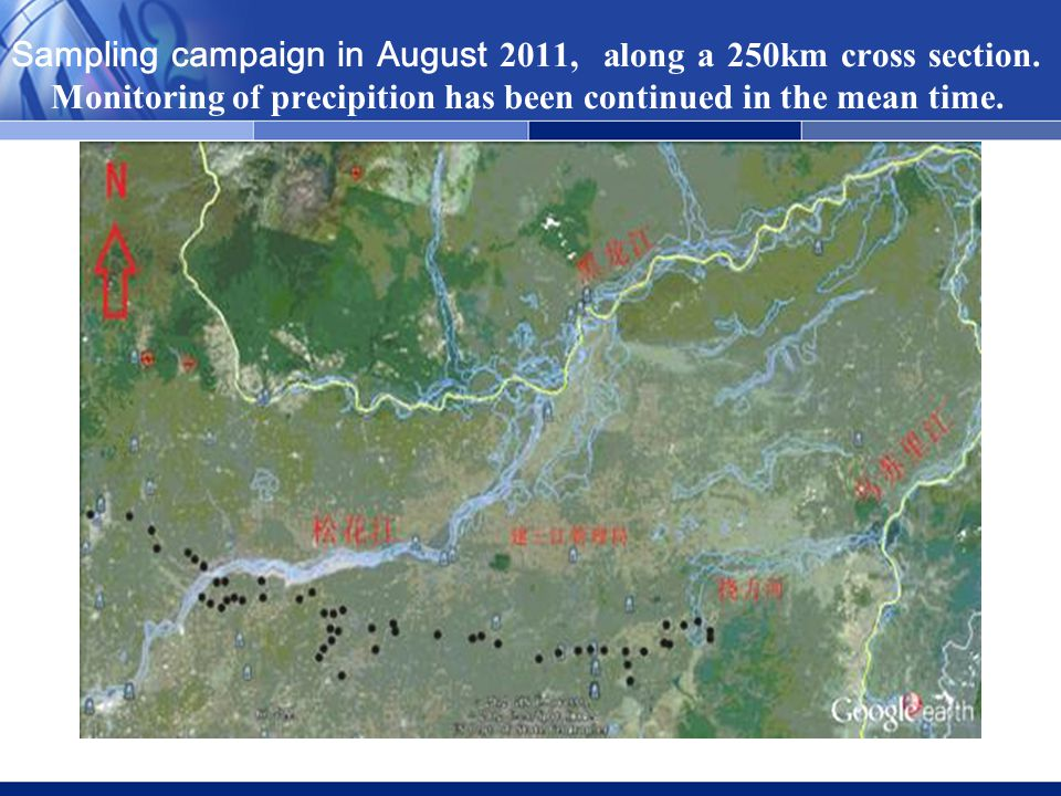 Sampling campaign in August 2011, along a 250km cross section.