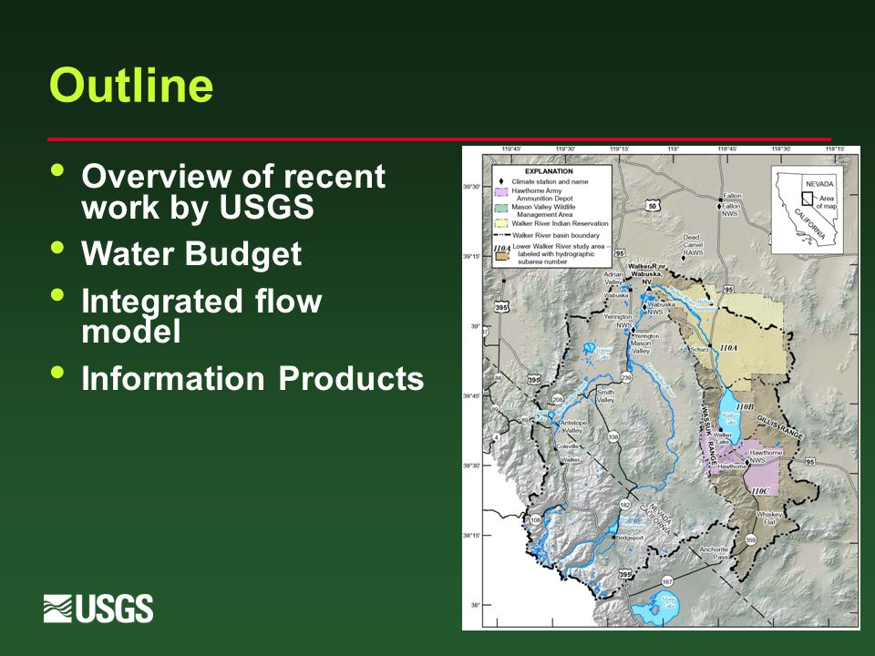 Outline Overview of recent work by USGS Water Budget Integrated flow model Information Products