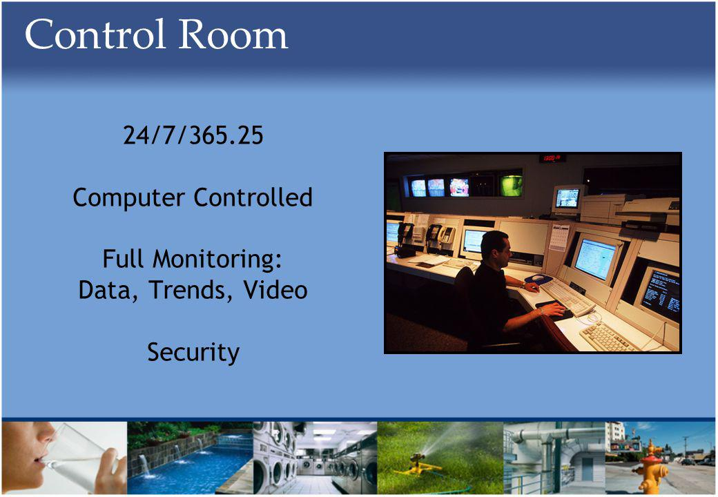 Control Room 24/7/365.25 Computer Controlled Full Monitoring: Data, Trends, Video Security