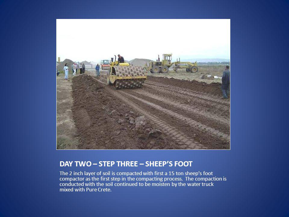 DAY TWO – STEP THREE – SHEEPS FOOT The 2 inch layer of soil is compacted with first a 15 ton sheep s foot compactor as the first step in the compacting process.