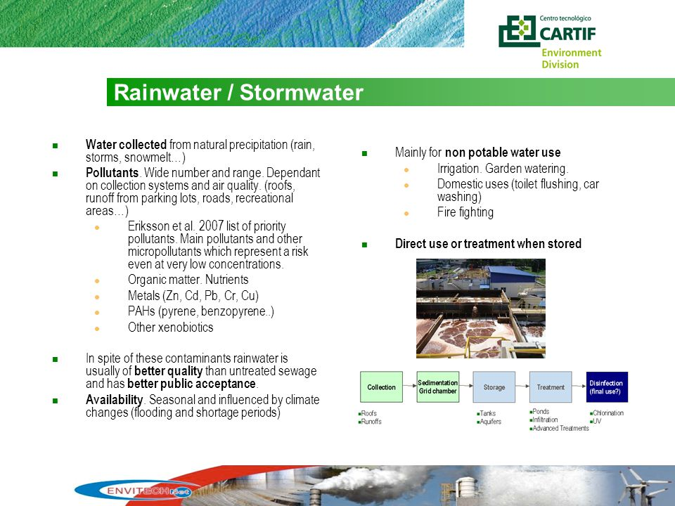 6 Rainwater / Stormwater Water collected from natural precipitation (rain, storms, snowmelt…) Pollutants.