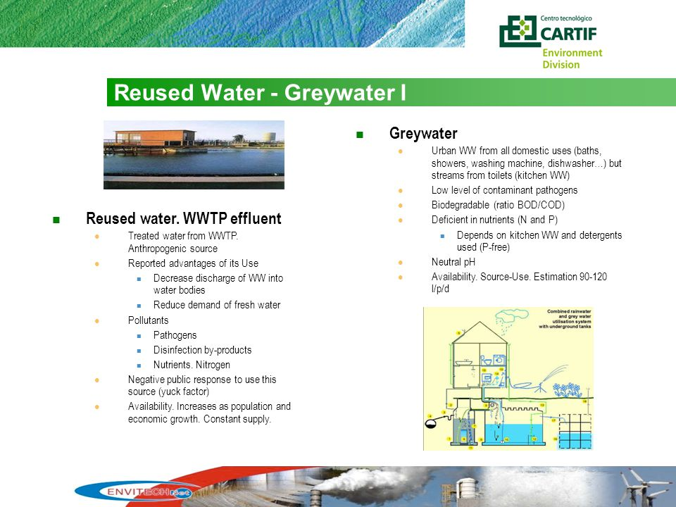 7 Reused Water - Greywater I Reused water. WWTP effluent Treated water from WWTP.