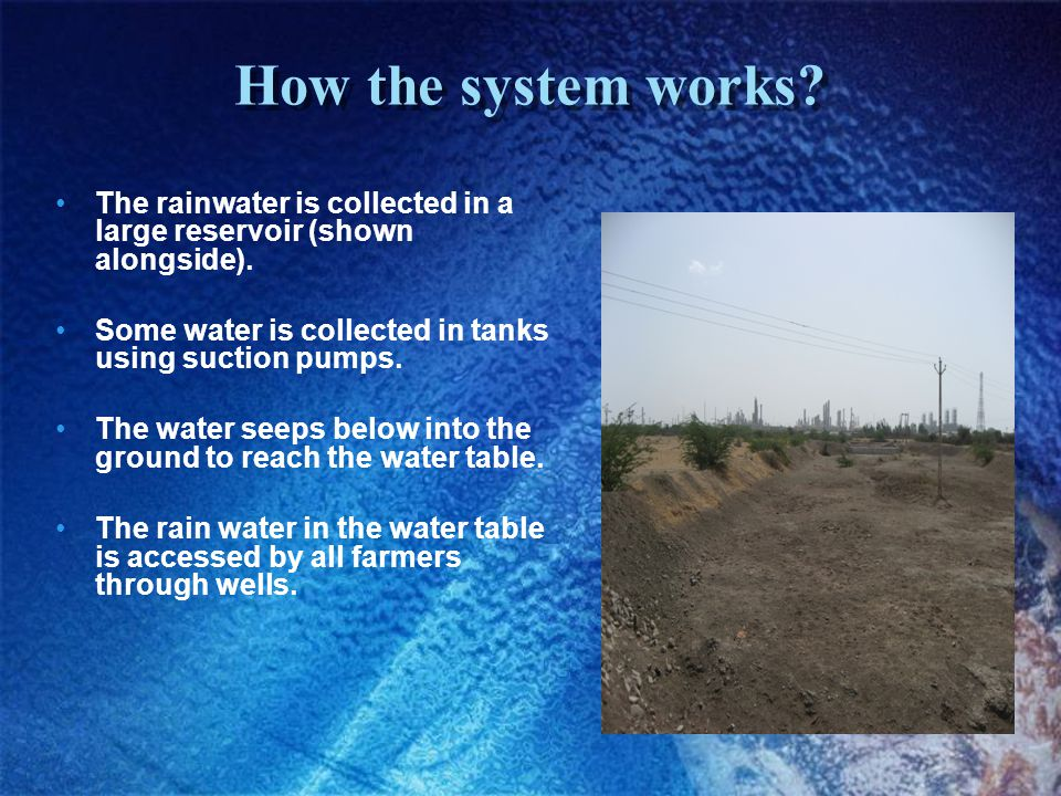 How the system works. The rainwater is collected in a large reservoir (shown alongside).