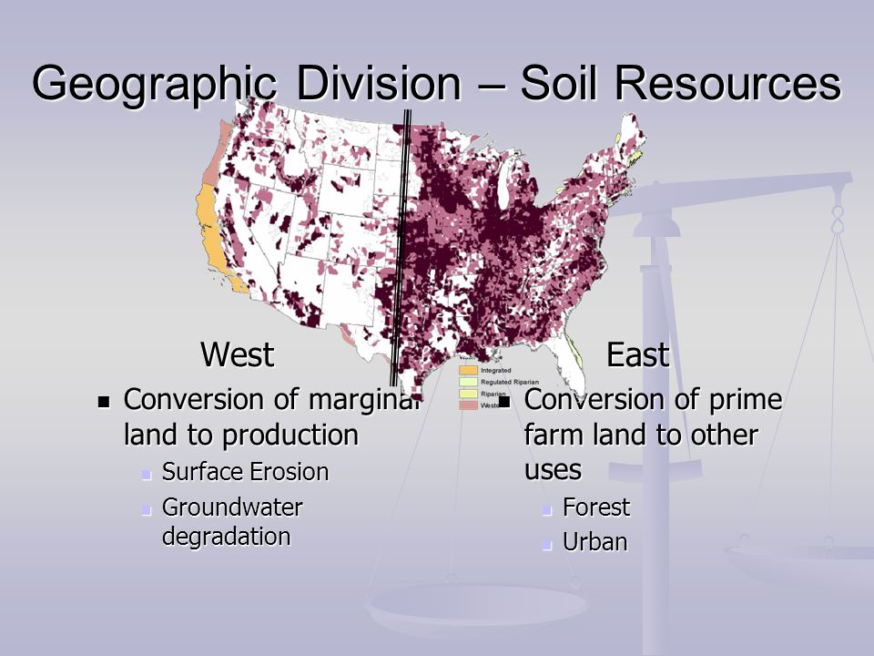 Geographic Division – Soil Resources West Conversion of marginal land to production Conversion of marginal land to production Surface Erosion Surface Erosion Groundwater degradation Groundwater degradation East Conversion of prime farm land to other uses Forest Urban 100 th Meridian
