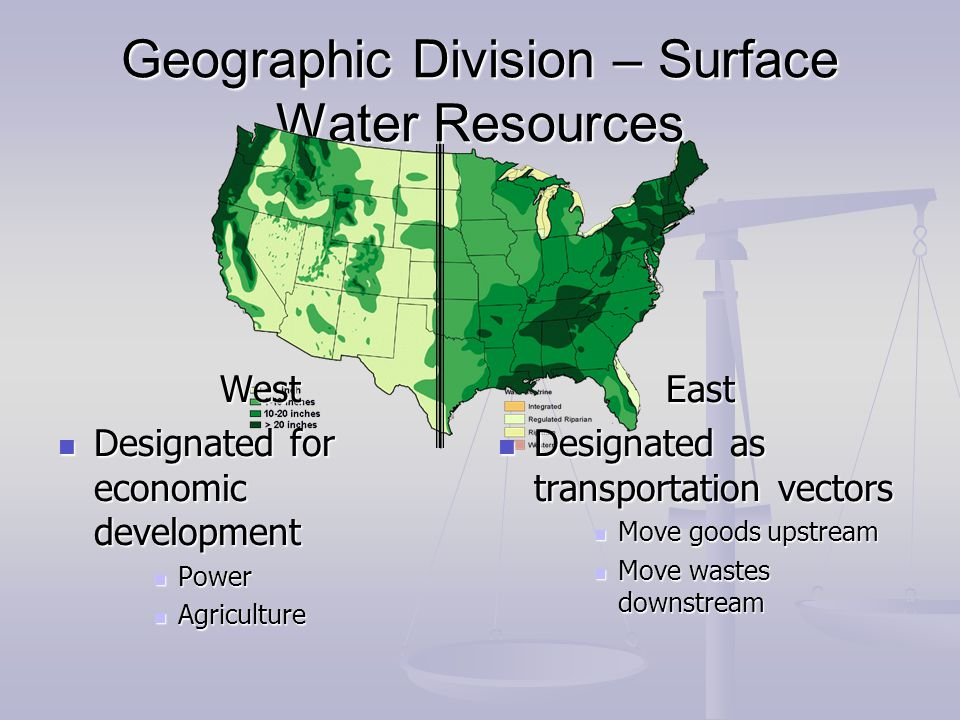 Geographic Division – Surface Water Resources 100 th Meridian West Designated for economic development Designated for economic development Power Power Agriculture Agriculture East Designated as transportation vectors Move goods upstream Move wastes downstream
